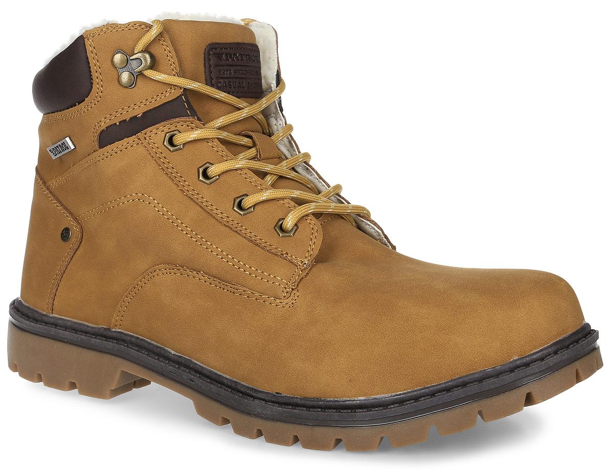 Ботинки мужские Patrol, цвет: кэмэл. 463-715IM-17w-04-45. Размер 44463-715IM-17w-04-45Мужские ботинки от Patrol выполнены из искусственного нубука и оформлены на язычке нашивкой с фирменным логотипом бренда. Подкладка, исполненная из искусственного меха, сохранит ваши ноги в тепле. Съемная стелька EVA с поверхностью из искусственного меха обеспечивает отличную амортизацию и максимальный комфорт. Шнуровка позволяет оптимально зафиксировать модель на ноге. Подошва с рельефным протектором, выполненная из термопластичного материала, обеспечивает отличное сцепление с любыми поверхностями.