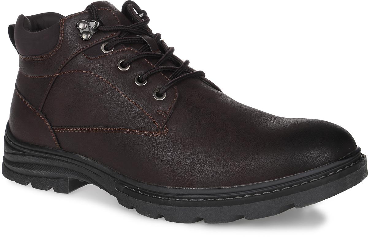 Ботинки мужские Patrol, цвет: темно-коричневый. 454-910IM-17w-01-2. Размер 44454-910IM-17w-01-2Мужские ботинки от Patrol выполнены из искусственной кожи. Подкладка, исполненная из искусственного меха, сохранит ваши ноги в тепле. Съемная стелька EVA с поверхностью из искусственного меха обеспечивает отличную амортизацию и максимальный комфорт. Шнуровка позволяет оптимально зафиксировать модель на ноге. Подошва, выполненная из термопластичного материала, обеспечит надежное сцепление на любых поверхностях.