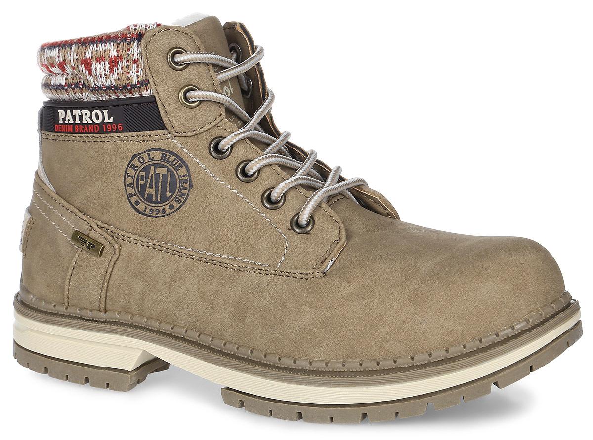 Ботинки женские Patrol, цвет: серый. 261-143IM-17w-04-4. Размер 38261-143IM-17w-04-4Женские ботинки от Patrol выполнены из искусственного нубука, на язычке и сбоку оформлены тиснением с логотипом бренда. Подкладка, исполненная из искусственного меха, сохранит ваши ноги в тепле. Съемная стелька EVA с поверхностью из искусственного меха обеспечивает отличную амортизацию и максимальный комфорт. Шнуровка позволяет оптимально зафиксировать модель на ноге. Подошва, выполненная из термопластичного материала, обеспечит надежное сцепление на любых поверхностях.
