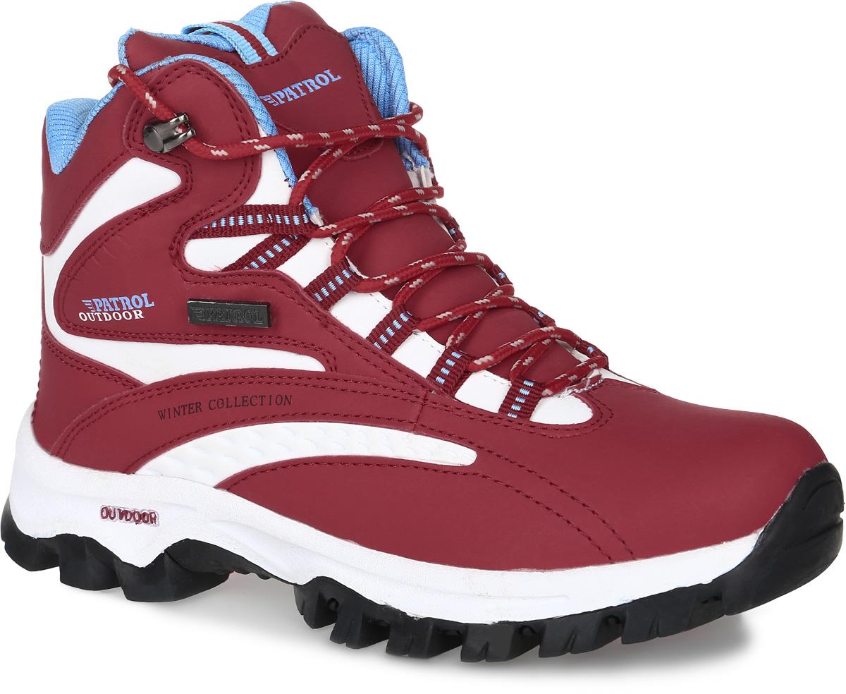 Ботинки женские Patrol, цвет: красный, белый. 232-005IM-17w-01-15. Размер 37232-005IM-17w-01-15Женские ботинки от Patrol прекрасно подойдут для активного отдыха и пеших прогулок. Модель выполнена из искусственной кожи. Подкладка, исполненная из искусственного меха, сохранит ваши ноги в тепле. Съемная стелька EVA с поверхностью из искусственного меха обеспечивает отличную амортизацию и максимальный комфорт. Шнуровка позволяет оптимально зафиксировать модель на ноге. Подошва с протектором гарантирует надежное сцепление на любых поверхностях.