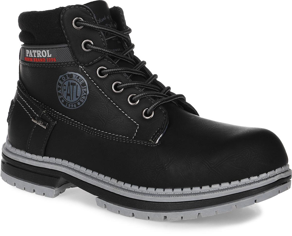 Ботинки женские Patrol, цвет: черный. 261-143IM-17w-04-1. Размер 38261-143IM-17w-04-1Женские ботинки от Patrol выполнены из искусственного нубука, на язычке и сбоку оформлены тиснением с логотипом бренда. Подкладка, исполненная из искусственного меха, сохранит ваши ноги в тепле. Съемная стелька EVA с поверхностью из искусственного меха обеспечивает отличную амортизацию и максимальный комфорт. Шнуровка позволяет оптимально зафиксировать модель на ноге. Подошва, выполненная из термопластичного материала, обеспечит надежное сцепление на любых поверхностях.