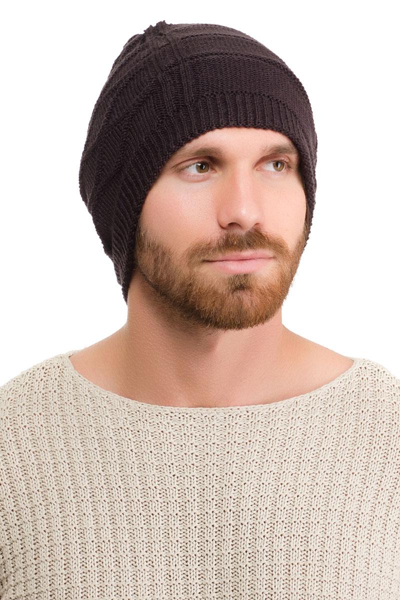 Шапка мужская Moltini, цвет: темно-коричневый. 171O-1601. Размер 57/59171O-1601Вязаная мужская шапка Moltini выполнена из высококачественной пряжи из акрила и шерсти. Модель декорирована объемным вязаным узором в виде сетки.Уважаемые клиенты! Обращаем ваше внимание на тот факт, что размер, доступный для заказа, является обхватом головы.
