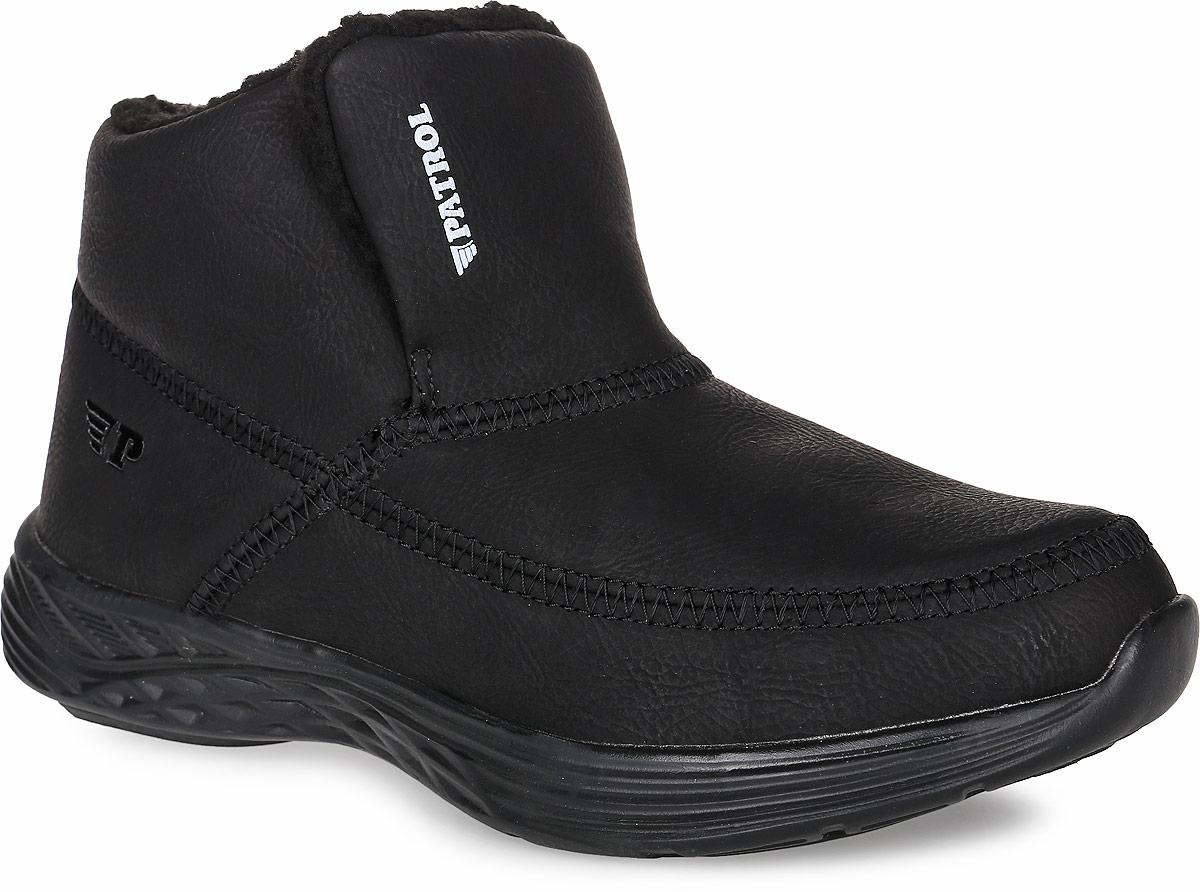 Ботинки женские Patrol, цвет: черный. 269-109IM-17w-04-1. Размер 38269-109IM-17w-04-1Теплые ботинки от фирмы Patrol не оставят вас равнодушной благодаря своему дизайну и комфорту. Модель изготовлена из качественного искусственного нубука и оформлена декоративной прострочкой, боковая сторона оформлена тисненым логотипом бренда. На ноге модель фиксируется с помощью эластичных резинок, находящихся под язычком. Внутренняя поверхность выполнена из искусственного меха, который надежно защитит от холода и обеспечит комфорт. Подошва изготовлена из мягкой и легкой резины, а ее рифление обеспечит отличное сцепление с любой поверхностью. Стильные и практичные ботинки - незаменимая вещь в гардеробе каждой модницы.