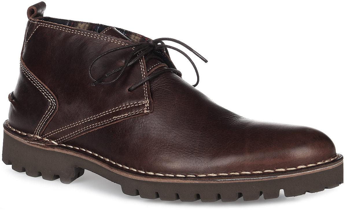 Ботинки мужские TBS Maxime, цвет: коричневый. MAXIME-M8055. Размер 44 (43)MAXIME-M8055Трендовые мужские ботинки Maxime от TBS - модель для ценителей современной качественной обуви! Модель выполнена из натуральной кожи с эффектом потертости. Внутренняя поверхность и стелька из кожи обеспечат комфорт и уют вашим ногам. Прочная резиновая подошва дополнена устойчивым каблуком и гарантирует длительную носку и сцепление с любой поверхностью. Классическая шнуровка надежно фиксирует обувь на ноге.