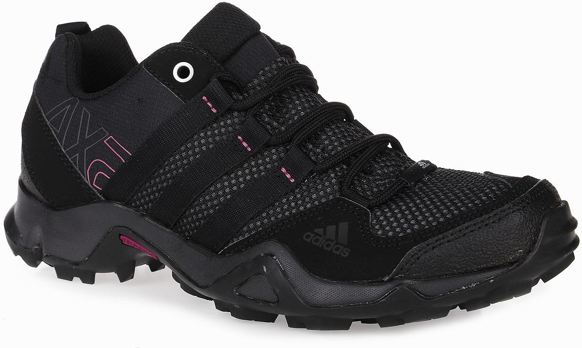 Кроссовки трекинговые женские adidas AX2, цвет: черный. AQ3963. Размер 5,5 (37)AQ3963Женские кроссовки AX2 от adidas - универсальная трекинговая обувь для простых пеших маршрутов и повседневной носки. Надежный гибкий верх выполнен из сетки и синтетики и дополнен бамперами на мыске и на пятке для дополнительной защиты стопы.Цепкая подошва с тракторным профилем Traxion поможет сохранить уверенность даже на скользких покрытиях. Удобная текстильная подкладка и литая анатомическая стелька с антимикробным покрытием обеспечивают наибольший комфорт. Классическая шнуровка надежно зафиксирует модель на ноге.