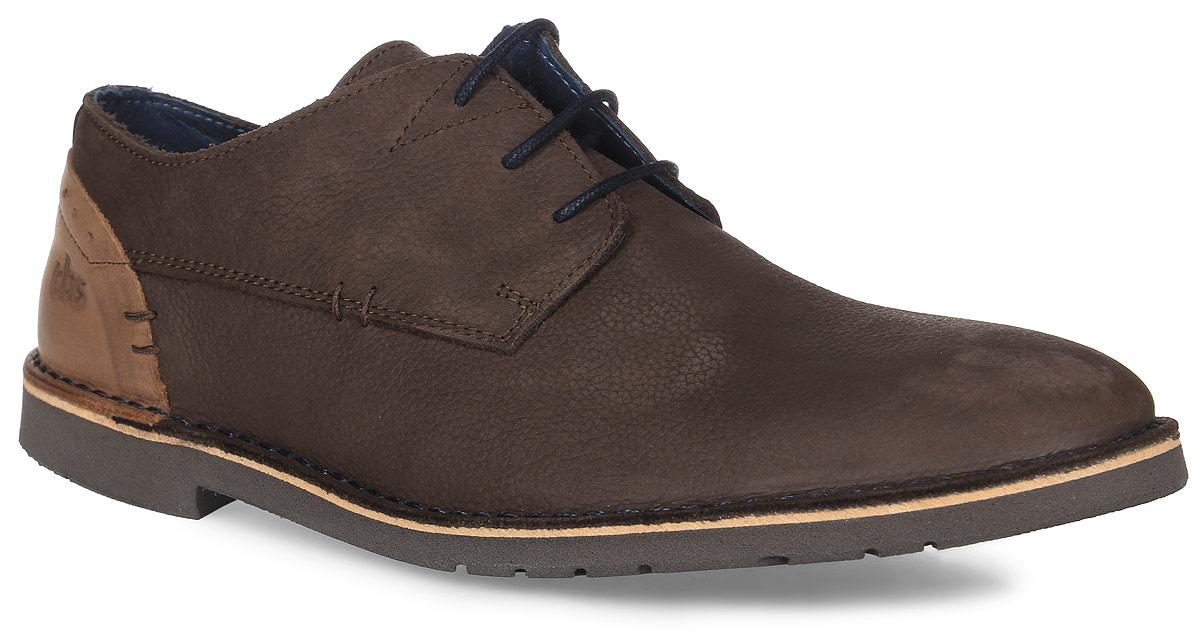 Полуботинки мужские TBS Danillo, цвет: темно-коричневый. DANILLO-D8005. Размер 43 (42)DANILLO-D8005Трендовые мужские полуботинки Danillo от TBS - модель для ценителей современной качественной обуви! Модель выполнена из натуральной кожи. Внутренняя поверхность и стелька из кожи обеспечат комфорт и уют вашим ногам. Прочная резиновая подошва дополнена небольшим квадратным каблучком. Невероятно удобная модель со шнуровкой обеспечит комфорт и легкость носки.Товары бренда смело можно отнести к продукции класса люкс, ведь они просто идеальны не только по стилю, но также и по качеству.