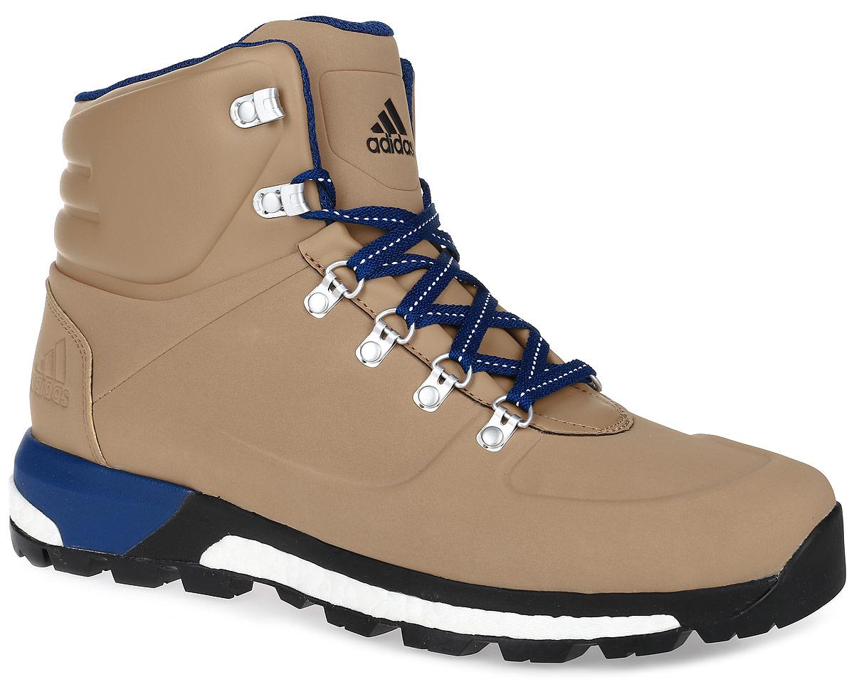 Ботинки мужские adidas CW Pathmaker, цвет: светло-коричневый. AQ4050. Размер 10 (43)AQ4050Модель CW Pathmaker от adidas - урбанистическая версия классических туристических ботинок. Верх выполнен из искусственной кожи. Мужская модель с промежуточной подошвой boost, возвращающей энергию каждого шага, обеспечивает максимальную амортизацию и сохраняет свои свойства даже при сильных перепадах температуры. Удобная текстильная подкладка и высокотехнологичный синтетический наполнитель Primaloft продолжают греть даже во влажном состоянии, дышащая технология Climawarm сохраняет ноги в тепле и сухости. Резиновая подошва Continental обеспечивает отличное сцепление на любой поверхности: от сухого грунта до скользких горных троп. Пяточный каркас из ЭВА и система Pro-Moderator для поддержки средней части стопы и устойчивости. Комфортное литое голенище. Классическая шнуровка, металлические полукольца и крючки для шнуровки надежно зафиксируют модель на ноге.
