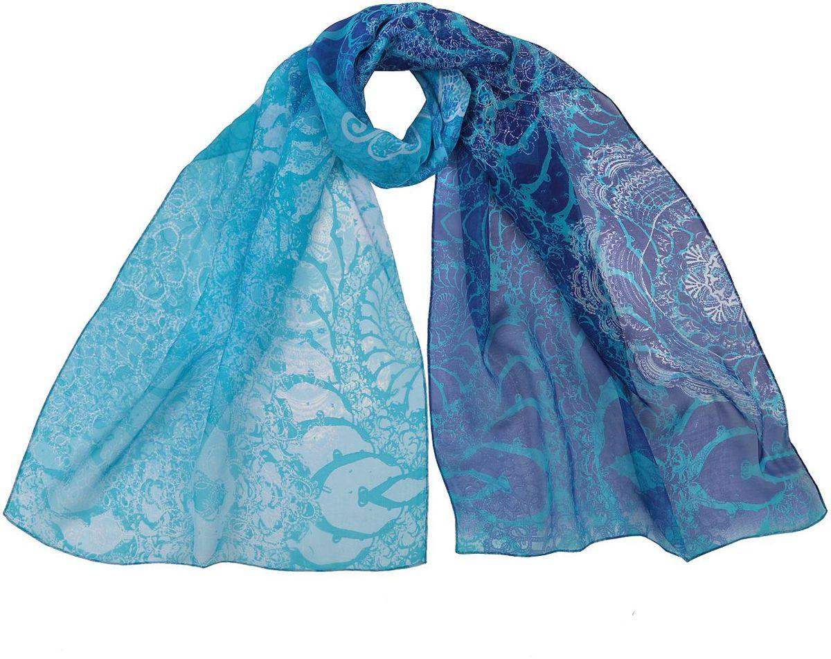 Шарф женский Fabretti, цвет: голубой. CLSCF-06-1. Размер 180 см х 55 смCLSCF-06-1Полупрозрачный струящийся шарф Fabretti оформлен оригинальным принтом. Данный аксессуар может стать изюминкой практически любого наряда.