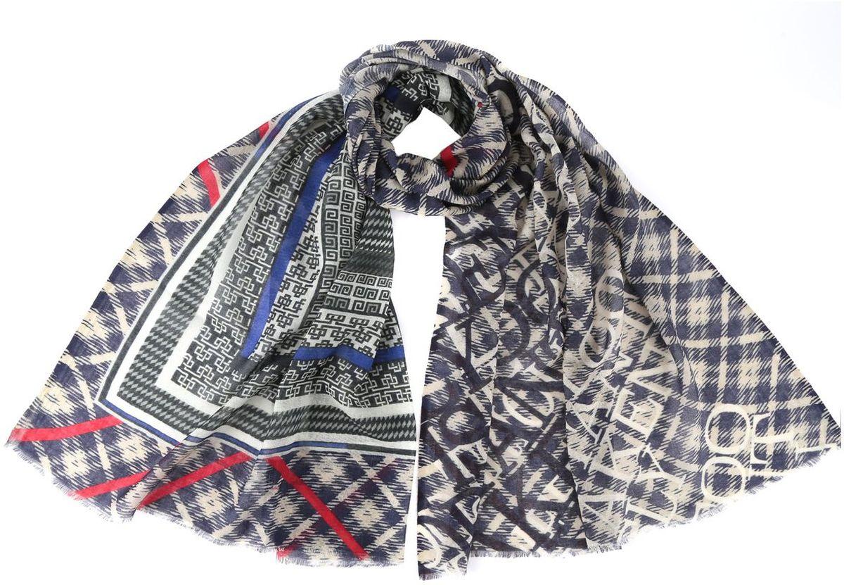 Шарф женский Fabretti, цвет: синий. AA-6213-Blue. Размер 70 см х 180 смAA-6213-BlueЖенский шарф Fabretti из 100% шелка - добавит изюминку в ваш образ. Оформлен оригинальным принтом.