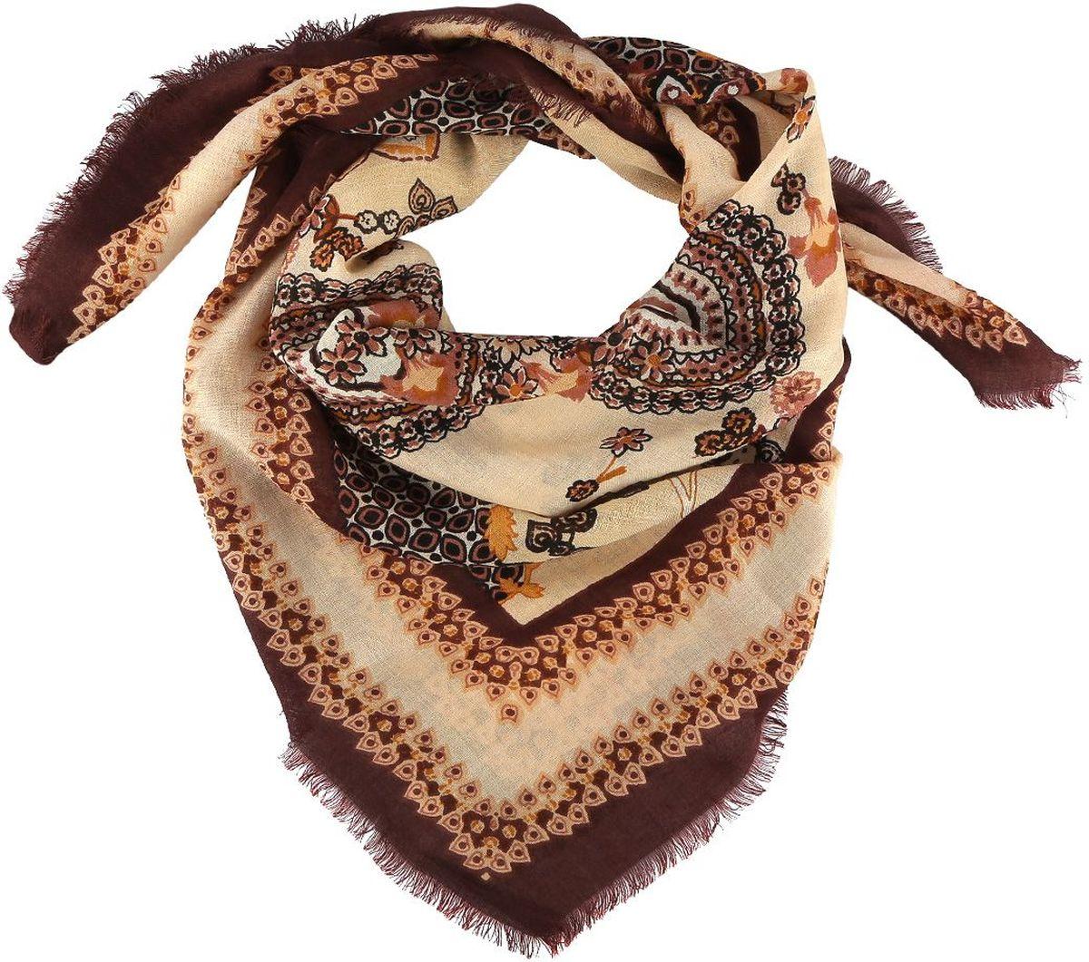 Платок Fabretti, цвет: бежевый, коричневый. 1311019-3. Размер 106 см х 106 см1311019-3Стильный женский платок Fabretti - добавит в ваш образ нотку романтики и шарма, а также подчеркнет безупречный вкус. Прекрасное завершение вашего образа.