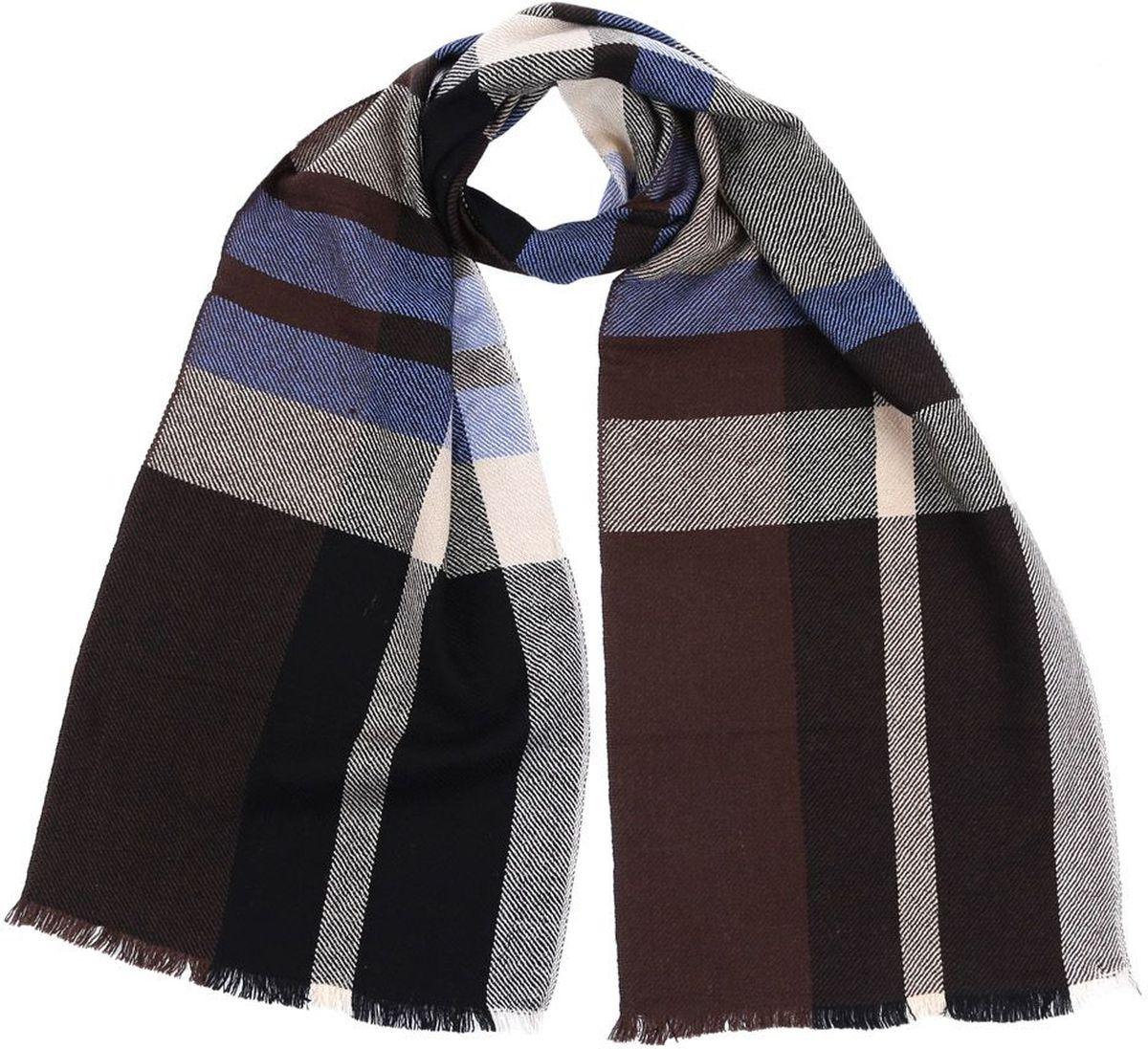 Шарф мужской Fabretti, цвет: коричневый, черный, голубой. 2874-12. Размер 30 см х 180 см2874-12Мужской шарф от итальянского бренда Fabretti выполнен из натуральной шерсти с мерсеризованной нитью, которая придает изделию неповторимую мягкость и шелковистость фактуры. Дизайнерское соединение цветов превратит ваш образ в самый стильный и элегантный в любой компании. Модная клетка и стильные реснички, которыми обработаны края изделия, подчеркнут ваш индивидуальный стиль.