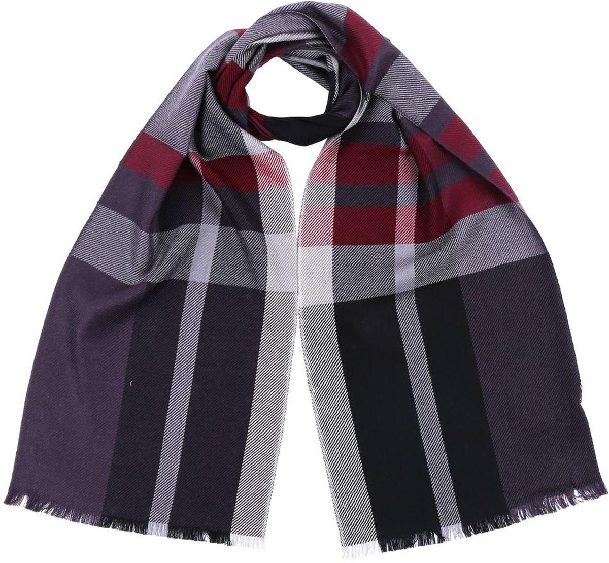 Шарф мужской Fabretti, цвет: черный, сиреневый, красный. 2874-11. Размер 30 см х 180 см2874-11Мужской шарф от итальянского бренда Fabretti выполнен из натуральной шерсти с мерсеризованной нитью, которая придает изделию неповторимую мягкость и шелковистость фактуры. Дизайнерское соединение цветов превратит ваш образ в самый стильный и элегантный в любой компании. Модная клетка и стильные реснички, которыми обработаны края изделия, подчеркнут ваш индивидуальный стиль.