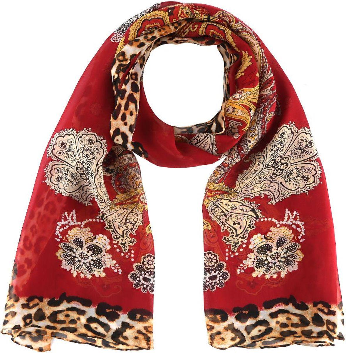 Шарф женский Fabretti, цвет: красный. 14YL064-B. Размер 180 см х 55 см14YL064-BШарф Fabretti станет удачным дополнением в вашем гардеробе. Выполнен из высококачественного материала и оформлен оригинальным принтом.