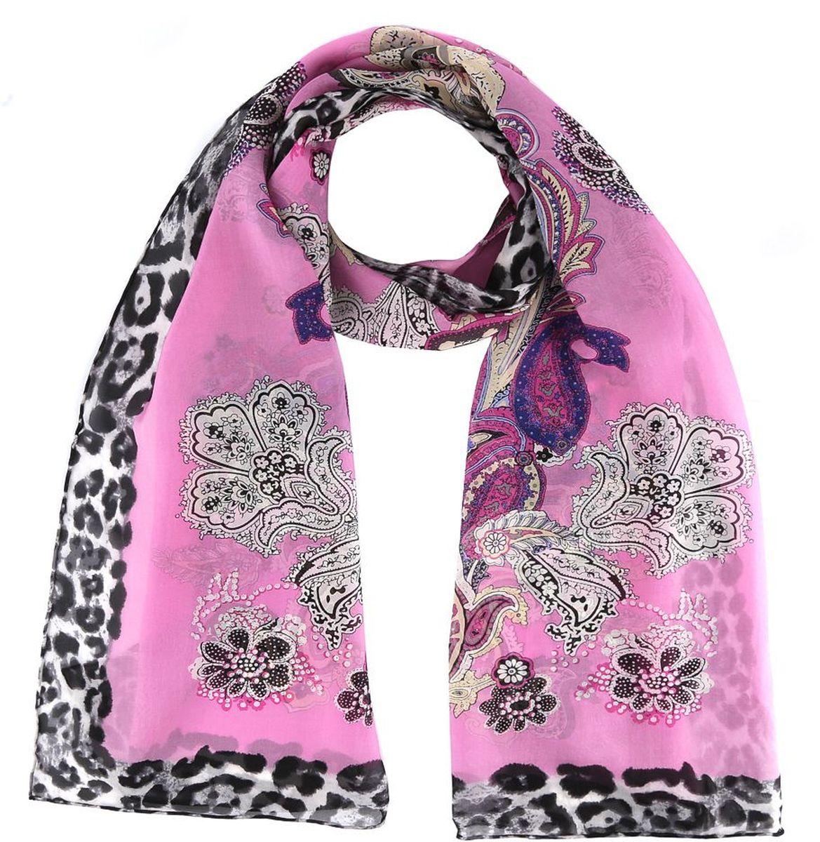 Шарф женский Fabretti, цвет: розовый. 14YL064-A. Размер 180 см х 55 см14YL064-AШарф Fabretti станет удачным дополнением в вашем гардеробе. Выполнен из высококачественного материала и оформлен оригинальным принтом.