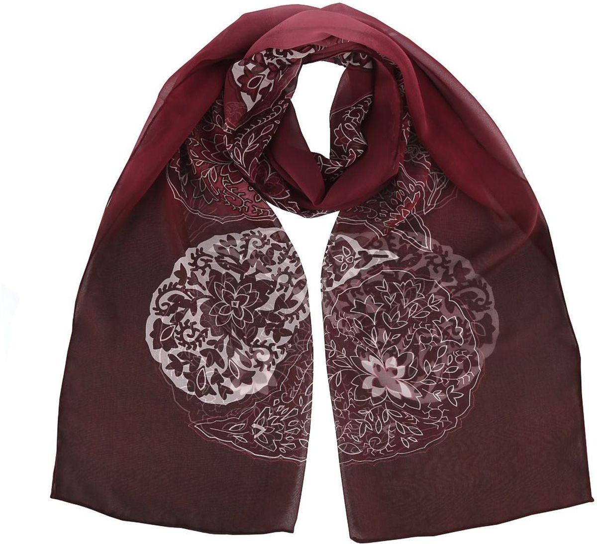 Шарф женский Fabretti, цвет: бордовый, коричневый. 14YL053-A. Размер 175 см х 55 см14YL053-AЧудесный аксессуар для современной леди - эффектный шарф из шелка. Оформлен оригинальным принтом.