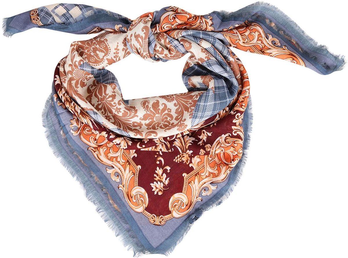 Платок Leo Ventoni, цвет: синий. 10KEP8002-4A. Размер 120 см х 120 см10KEP8002-4AИзящный женский платок от итальянского бренда Leo Ventoni выполнен из натуральной шерсти с мерсеризированной нитью, которая придает изделию неповторимую мягкость и шелковистость фактуры. Дизайн платка сочетает в себе уникальное соединение роскошного принта в стиле барокко с утонченной и классической клеткой. Края, обработанные изящными ресничками, подчеркнут изысканный вкус своей обладательницы.