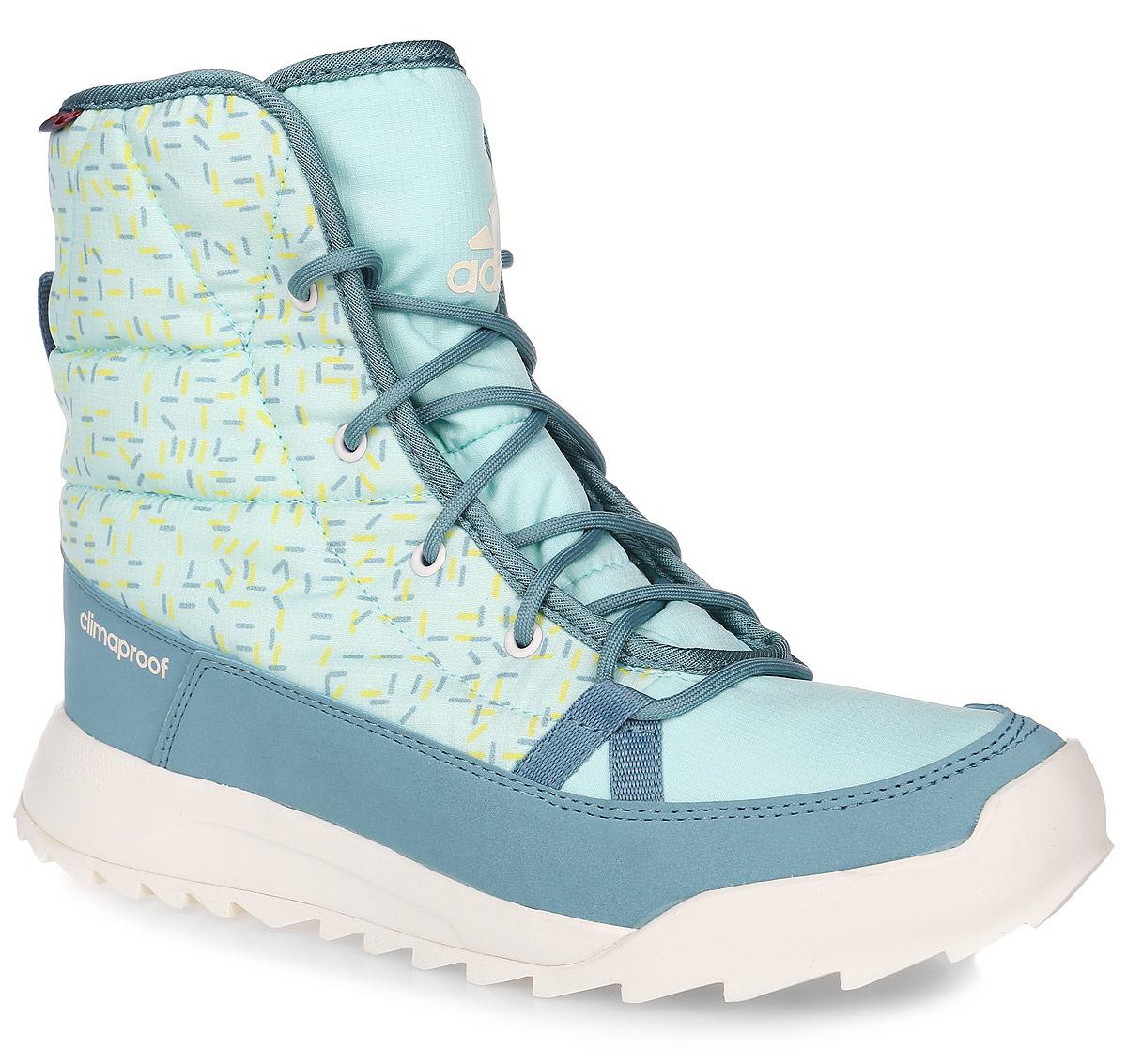 Ботинки женские adidas CW Choleah Padded C, цвет: мятный. AQ2024. Размер 4,5 (36)AQ2024Женские туристические ботинки CW Choleah Padded C от adidas, выполненные из водонепроницаемого материала Climaproof с утеплителем PrimaLoft сохранят ваши ноги в тепле и сухости на заснеженных тропах и холодных улицах. Высокотехнологичный синтетический наполнитель PrimaLoft продолжает греть даже во влажном состоянии. Текстильный верх с геометрическим принтом и дизайн адаптирован под особенности женской стопы. Модель дополнена вставками из синтетических материалов для износостойкости.Резиновая подошва Traxion с глубоким протектором для оптимального сцепления сохраняет свои свойства в течение долгого времени.