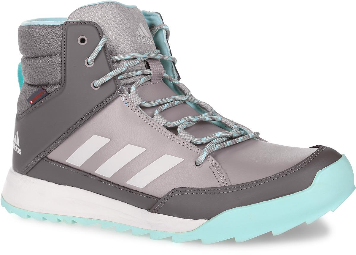 Кроссовки женские adidas CW Choleah Sneaker, цвет: серый. AQ2026. Размер 4 (35,5)AQ2026Женские высокие кроссовки CW Choleah Sneaker от adidas выполнены из прочной натуральной кожи с полиуретановым покрытием, которое легко чистится. Утепленное голенище выполнено из рипстопа. Высокотехнологичный синтетический утеплитель PrimaLoft с технологией ClimaWarm сохраняет ноги в тепле и сухости. Легкая упругая промежуточная подошва из ЭВА сохраняет свои свойства в течение долгого времени. Резиновая подошва Traxion и специальный глубокий протектор адаптированы для максимального сцепления даже с мокрыми поверхностями. Эта туристическая модель адаптирована под особенности женской стопы.