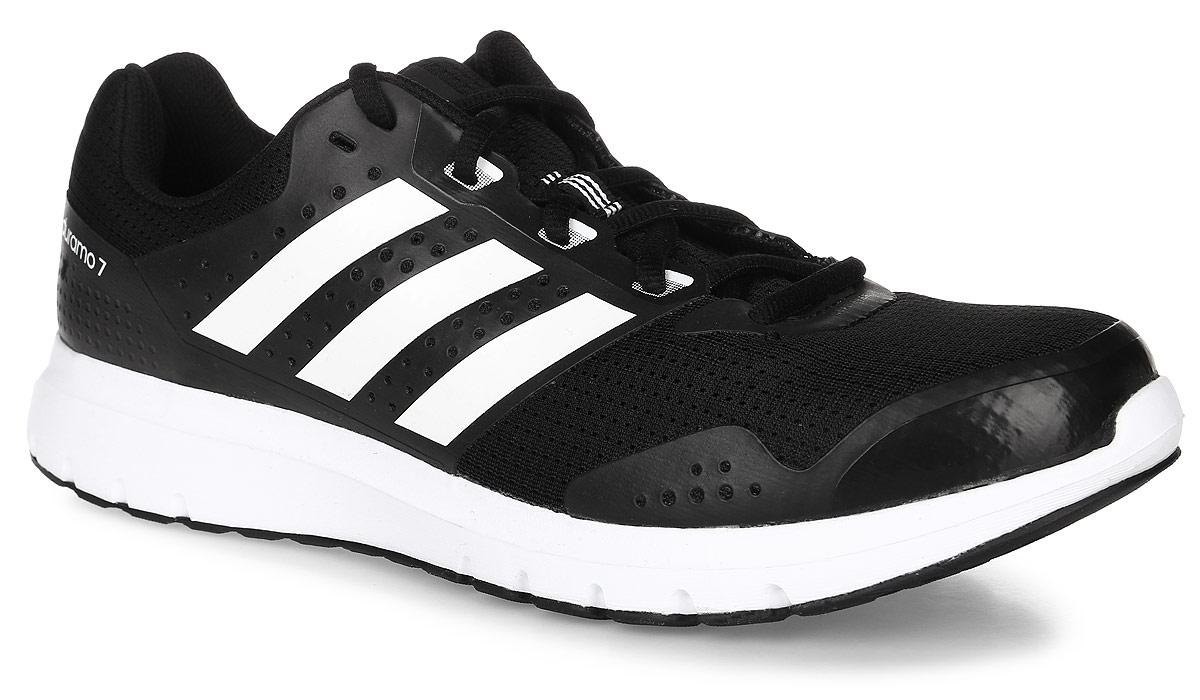 Кроссовки для бега мужские adidas Performance Duramo 7, цвет: черный. BB4049. Размер 6 (38)BB4049Модные мужские кроссовки Duramo 7 от adidas Performance придутся вам по душе. Верх,выполненный из сетчатого дышащего текстиля, дополнен бесшовными накладками из ПВХ.Одна из боковых сторон и язычок оформлены названием и логотипом бренда, другая сторона -названием модели. Подкладка из текстиля не натирает. Стелька Ortholite из материала ЭВА стекстильной поверхностью комфортна при движении. Классическая шнуровка с прорезиненнойпанелью надежно фиксирует модель на ноге. Легкая промежуточная подошва из материала ЭВАобладает высокой износостойкостью и обеспечивает идеальную амортизацию. Резиноваяподошва с протектором гарантирует идеальное сцепление с любыми поверхностями. Такиекроссовки - отличный вариант для бега на короткие и длинные дистанции.