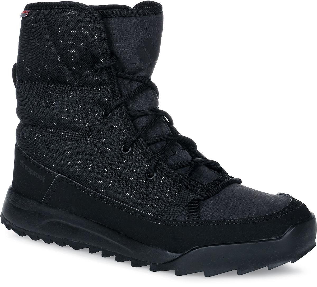 Ботинки женские adidas CW Choleah Padded C, цвет: черный. AQ4261. Размер 4 (35,5)AQ4261Женские туристические ботинки CW Choleah Padded C от adidas, выполненные из водонепроницаемого материала Climaproof с утеплителем PrimaLoft сохранят ваши ноги в тепле и сухости на заснеженных тропах и холодных улицах. Высокотехнологичный синтетический наполнитель PrimaLoft продолжает греть даже во влажном состоянии. Текстильный верх со светоотражающим принтом и дизайн адаптирован под особенности женской стопы. Модель дополнена вставками из синтетических материалов для износостойкости.Резиновая подошва Traxion с глубоким протектором для оптимального сцепления сохраняет свои свойства в течение долгого времени.