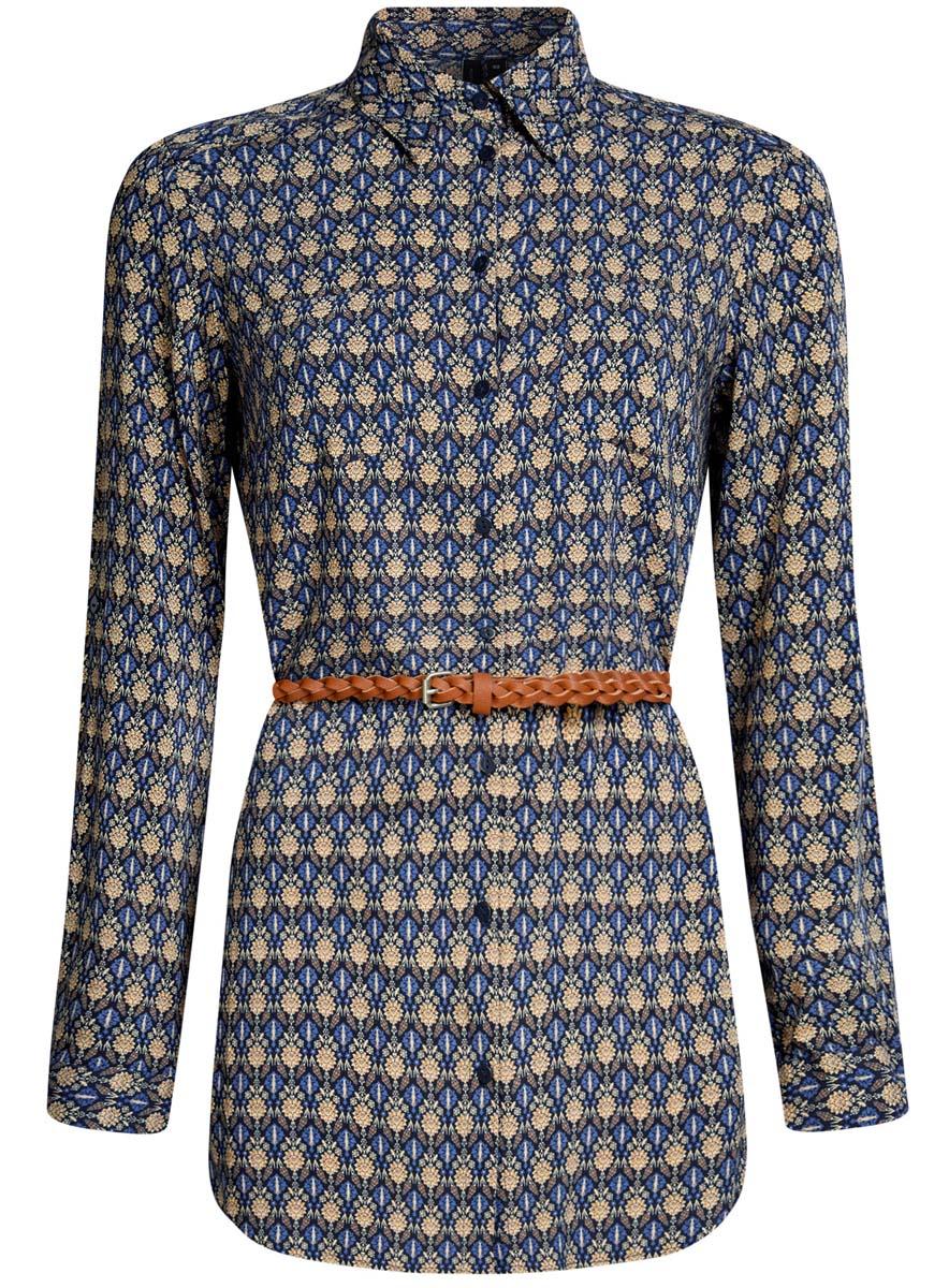 Блузка женская oodji Collection, цвет: темно-синий, бежевый. 21412057-4/24681/7933E. Размер 42 (48-170)21412057-4/24681/7933EСтильная женская рубашка oodji Collection выполнена из качественной вискозы. Модель с отложным воротником и длинными рукавами застегивается на пуговицы по всей длине. Рубашка удлиненной модели дополнена стильным ремешком из искусственной кожи и двумя накладными карманами спереди. Манжеты рукавов оснащены застежками-пуговицами, а также их можно сделать покороче с помощью внутреннего хлястика на пуговице. Модель оформлена контрастным принтом с узорами. Рукава дополнены манжетами с кнопками.