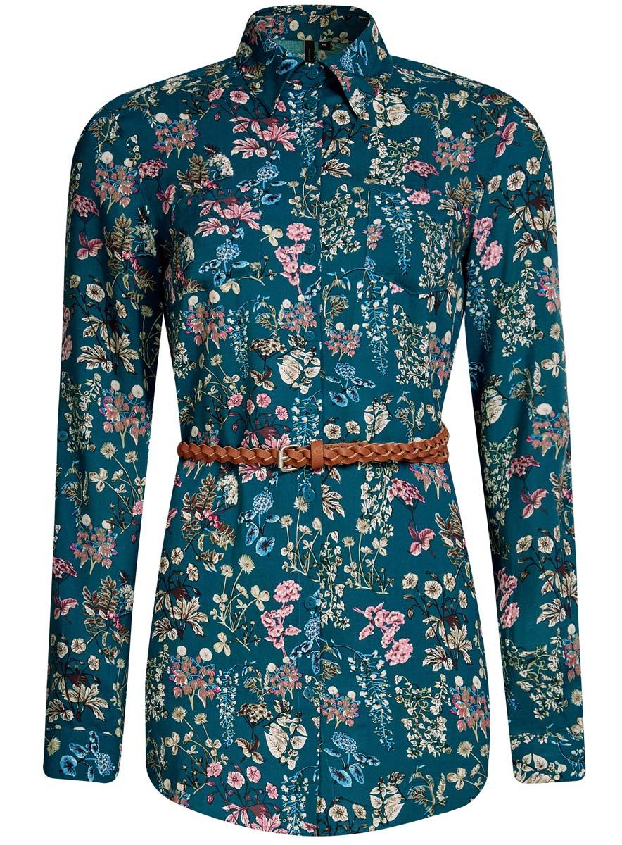 Блузка женская oodji Collection, цвет: изумрудный, розовый. 21412057-4/24681/6D4AF. Размер 38 (44-170)21412057-4/24681/6D4AFСтильная женская рубашка oodji Collection выполнена из качественной вискозы. Модель с отложным воротником и длинными рукавами застегивается на пуговицы по всей длине. Рубашка удлиненной модели дополнена стильным ремешком из искусственной кожи и двумя накладными карманами спереди. Манжеты рукавов оснащены застежками-пуговицами, а также их можно сделать покороче с помощью внутреннего хлястика на пуговице. Модель оформлена контрастным принтом с узорами. Рукава дополнены манжетами с кнопками.