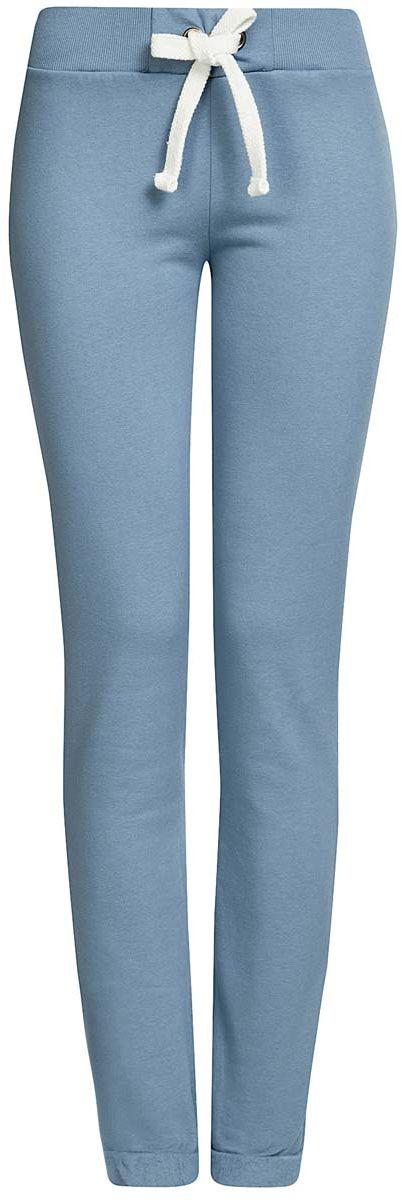 Брюки спортивные женские oodji Ultra, цвет: голубой. 16701010B/46980/7400N. Размер S (44)16701010B/46980/7400NСпортивные женские брюки oodji Ultra выполнены из натурального хлопка. Изнаночная сторона изделия с мягким начесом. Модель имеет широкую резинку на поясе, объем талии регулируется при помощи шнурка-кулиски. Сзади брюки дополнены имитацией прорезного кармана. Снизу брючины оснащены декоративными отворотами на резинках.
