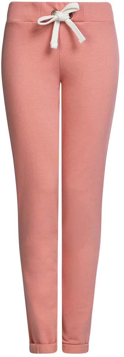Брюки спортивные женские oodji Ultra, цвет: розовый. 16701010B/46980/4A00N. Размер XL (50)16701010B/46980/4A00NСпортивные женские брюки oodji Ultra выполнены из натурального хлопка. Изнаночная сторона изделия с мягким начесом. Модель имеет широкую резинку на поясе, объем талии регулируется при помощи шнурка-кулиски. Сзади брюки дополнены имитацией прорезного кармана. Снизу брючины оснащены декоративными отворотами на резинках.