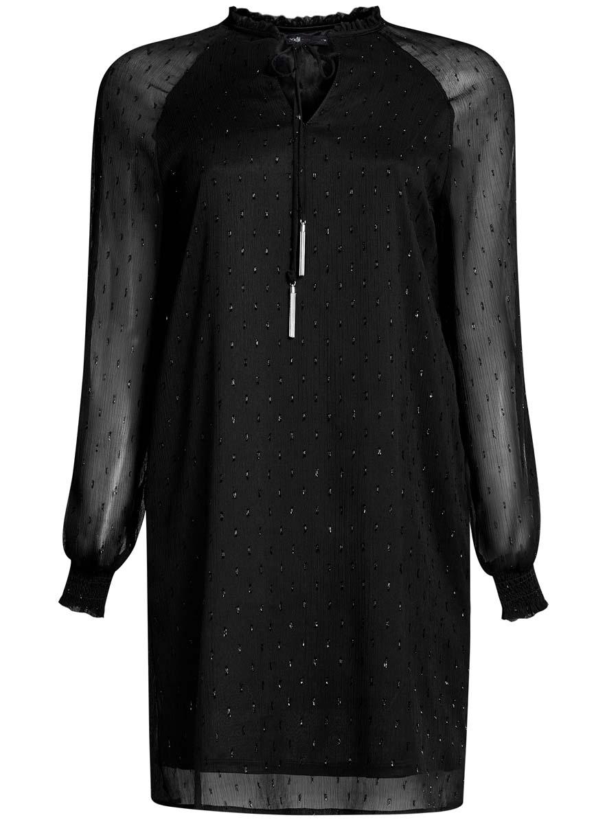 Платье oodji Ultra, цвет: черный. 11914001/46116/2900N. Размер 40 (46-170)11914001/46116/2900NСтильное платье oodji Ultra выполнено из качественного полиэстера. Подкладка изделия также изготовлена из полиэстера. Модное шифоновое платье-мини с круглым вырезом горловины и длинными рукавами-реглан дополнена спереди завязками. Рукава модели дополнены манжетами на широких резинках и оригинальными прорезями вдоль рукава с завязками-бантиками. Вырез горловины оформлен нежной рюшей.
