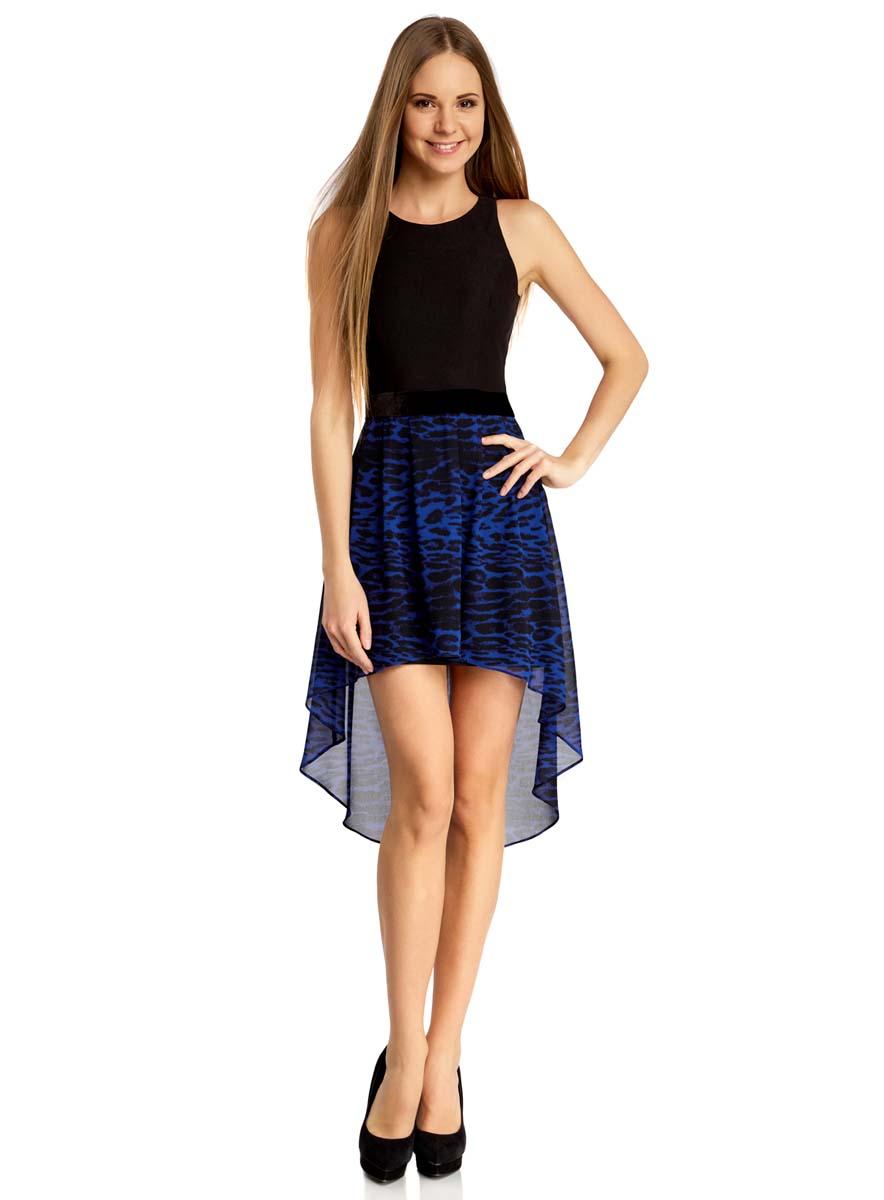 Платье oodji Ultra, цвет: черный, индиго. 11902119-2/31266/2978A. Размер 42 (48-170)11902119-2/31266/2978AПлатье oodji Ultra без рукавов исполнено с облегающим верхом и воздушным низом. Имеет удлиненную сзади ассиметричную юбку. Застегивается на спинке на молнию.