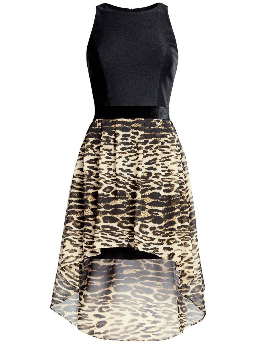 Платье oodji Ultra, цвет: черный, бежевый. 11902119-2/31266/2933A. Размер 38 (44-170)11902119-2/31266/2933AПлатье oodji Ultra без рукавов исполнено с облегающим верхом и воздушным низом. Имеет удлиненную сзади ассиметричную юбку. Застегивается на спинке на молнию.