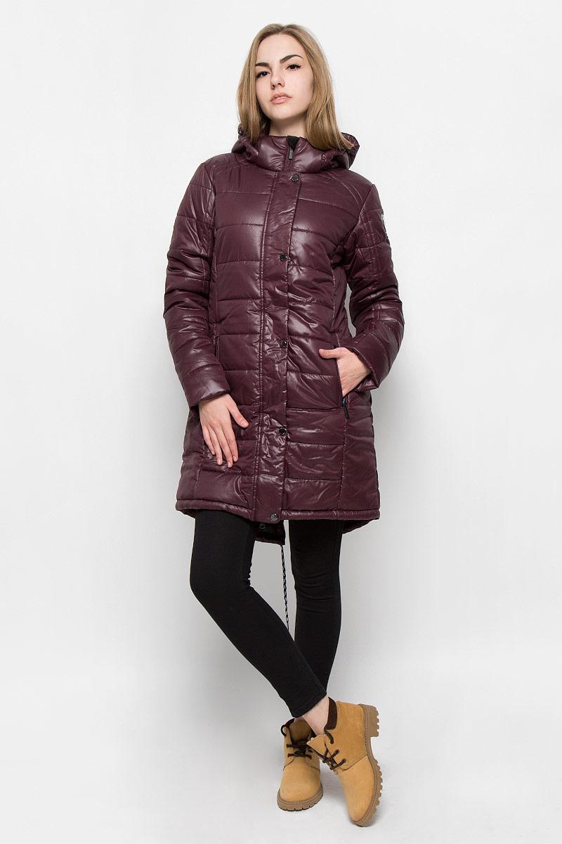 Куртка женская Luhta Pernella, цвет: сливовый. 636463388LV. Размер 40 (46)636463388LVУдобное женское пальто Luhta Pernella изготовлено из 100% полиэстера. Модель с длинными рукавами, воротником-стойкой и съемным капюшоном. Объем капюшона регулируется при помощи шнурка-кулиски со стопперами и хлястика на липучке. Пальто застегивается на застежку-молнию спереди и имеет ветрозащитный клапан на кнопках. Изделие дополнено двумя карманами на молнии спереди, внутренним карманом на застежке-молнии. Низ изделия дополнен шнурком.