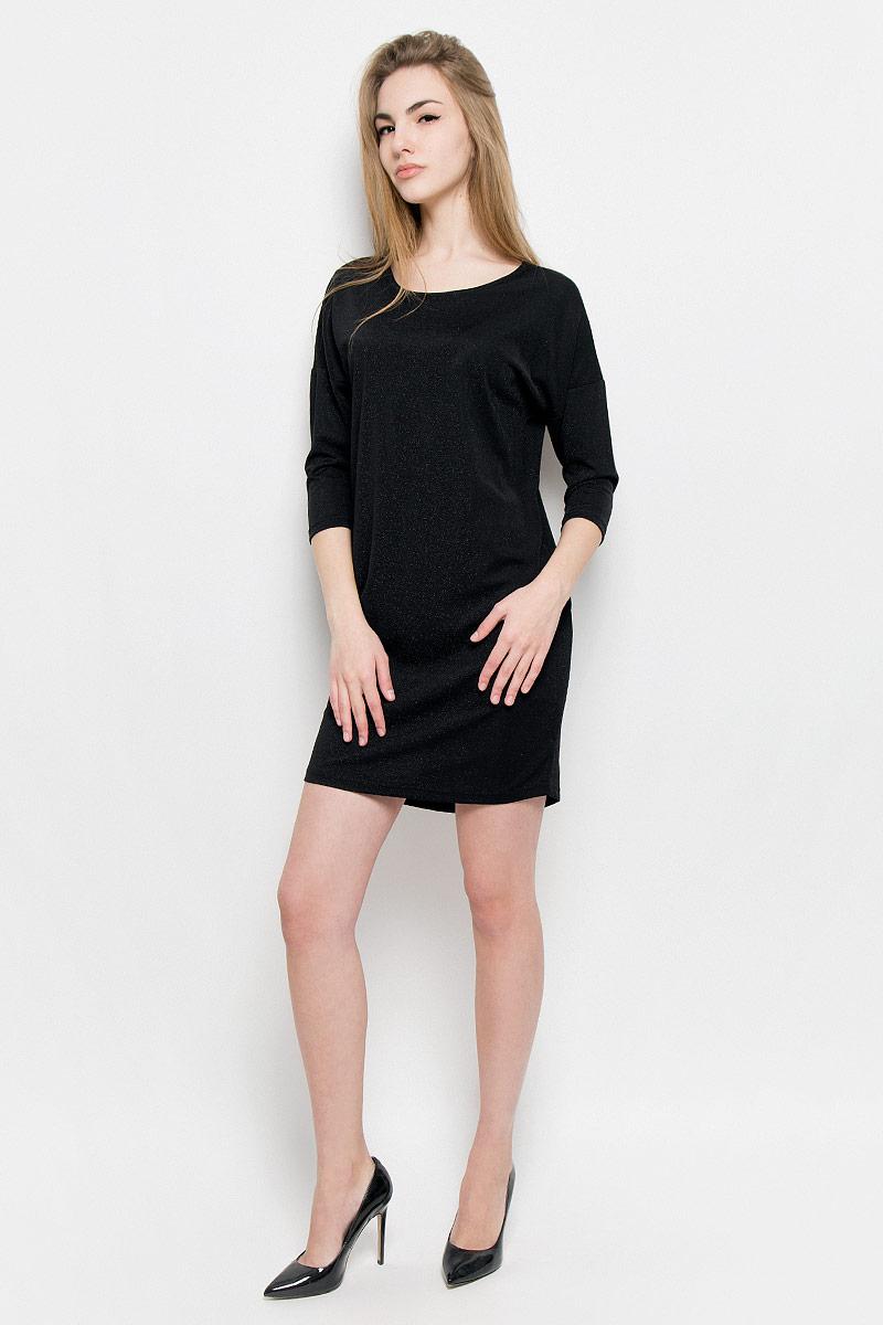 Платье Broadway Vissia, цвет: черный. 10156977_999. Размер XL (50)10156977_999Платье Broadway Vissia выполнено из полиамида с добавлением люрекса и эластана. Платье-мини с круглым вырезом горловины и рукавами длинной 3/4.