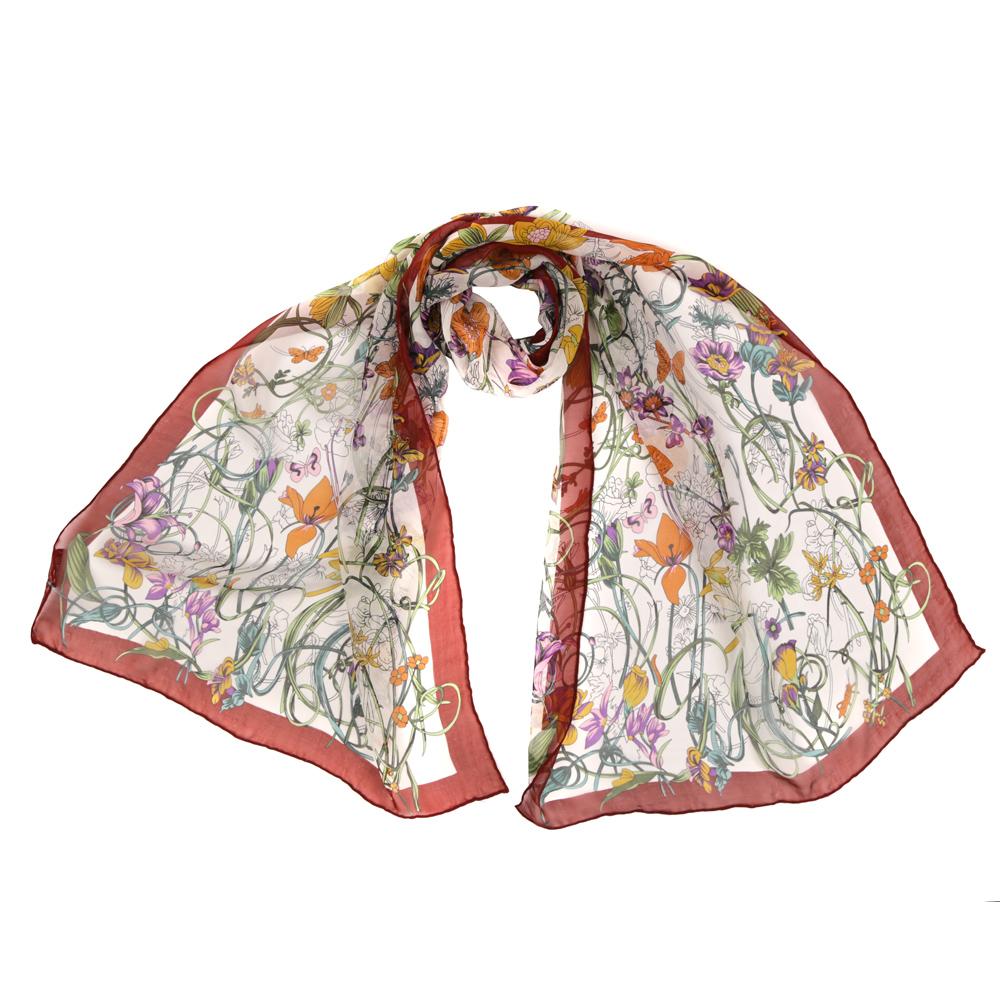 Шарф женский Fabretti, цвет: красный, белый. 7193-1. Размер 55 см х 170 см7193-1Женский шарф Fabretti из 100% шелка - добавит изюминку в ваш образ. Оформлен оригинальным принтом.