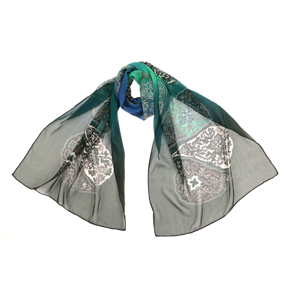 Шарф женский Fabretti, цвет: зеленый. 14YL053-B. Размер 175 см х 55 см14YL053-BЧудесный аксессуар для современной леди - эффектный шарф из шелка. Оформлен оригинальным принтом.