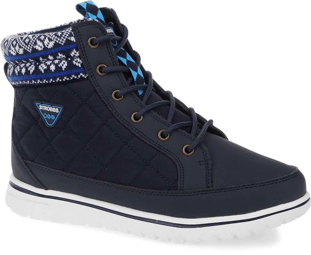 Ботинки женские Strobbs, цвет: синий. F8168-2. Размер 40F8168-2Стильные женские ботинки Strobbs, выполненные в спортивном стиле, прекрасно подойдут для активного отдыха и повседневной носки. Верх изготовлен из микрофибры и оформлен вставками из текстиля. Подкладка из искусственного меха не даст ногам замерзнуть. Удобная шнуровка надежно зафиксирует модель на стопе. Подошва обеспечит легкость и естественную свободу движений. Сбоку ботинки украшены логотипом бренда. Модель маломерит на 1 размер. В таких ботинках вашим ногам будет тепло и комфортно.