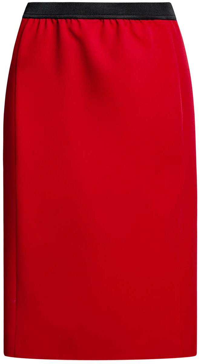 Юбка oodji Ultra, цвет: красный. 11602177/38253/4500N. Размер 34 (40-170)11602177/38253/4500NСтильная юбка oodji Ultra выполнена из качественного комбинированного материала. Модель-карандаш дополнена в поясе эластичной резинкой, а сзади - небольшой разрез.