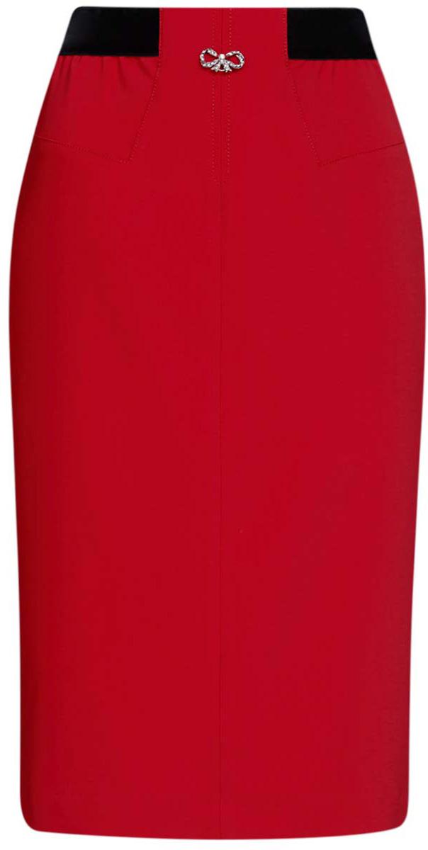 Юбка oodji Ultra, цвет: красный. 11602176/45018/4500N. Размер 38 (44-170)11602176/45018/4500NЮбка oodji Ultra выполнена из полиэстера с добавлением эластана, подкладка выполнена из 100% полиэстера. Юбка средней длины дополнена широкой эластичной резинкой на талии. Сбоку застегивается на потайную застежку-молнию. Модель оформлена декоративным металлическим бантиком со стразами спереди.