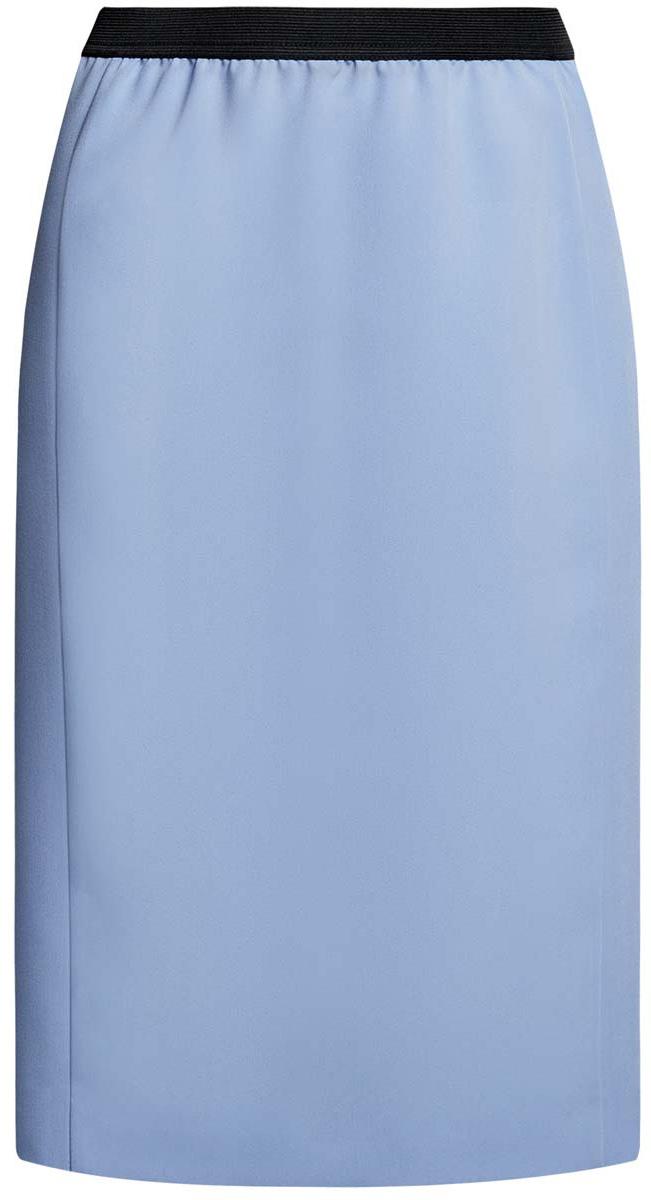 Юбка oodji Ultra, цвет: голубой. 11602177/38253/7000N. Размер 40 (46-170)11602177/38253/7000NСтильная юбка oodji Ultra выполнена из качественного комбинированного материала. Модель-карандаш дополнена в поясе эластичной резинкой, а сзади - небольшой разрез.
