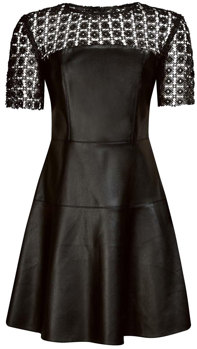 Платье oodji Ultra, цвет: черный. 18L00003/43578/2900N. Размер 38 (44-170)18L00003/43578/2900NСтильное платье oodji Ultra выполнено из полиэстера с добавлением полиуретана. Модель с круглым вырезом горловины и короткими рукавами застёгивается на спине на молнию. Верхняя часть платья оформлена кружевной вставкой.