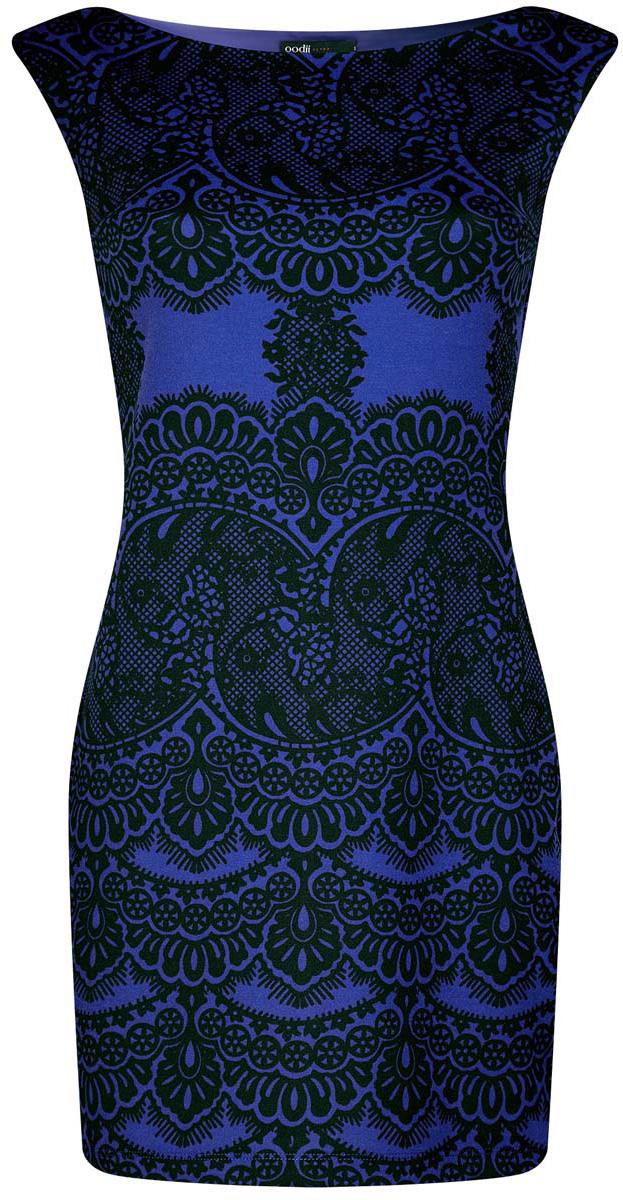 Платье oodji Ultra, цвет: синий, черный. 14001170/37809/7529L. Размер L (48)14001170/37809/7529LПлатье oodji Ultra без рукавов исполнено из мягкой облегающей ткани. Имеет воротник-лодочку и оформлено принтом в кружева.