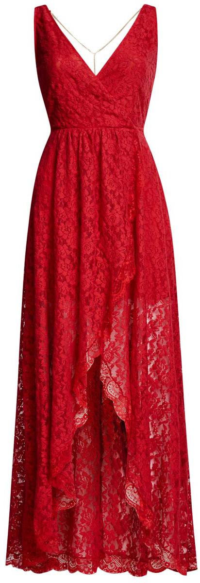 Платье oodji Ultra, цвет: красный. 11913029/46034/4500N. Размер 42-170 (48-170)11913029/46034/4500NРоскошное платье oodji Ultra выполнено из эластичного хлопчатого гипюра. Модель с V-образным вырезом. Изделие на бретелях средней толщины. Боковая сторона лифа дополнена потайной застежкой-молнией. Низ платья ассиметричен. В комплект входит декоративная цепочка, которая крепится на петли к спинке при помощи карабинов.