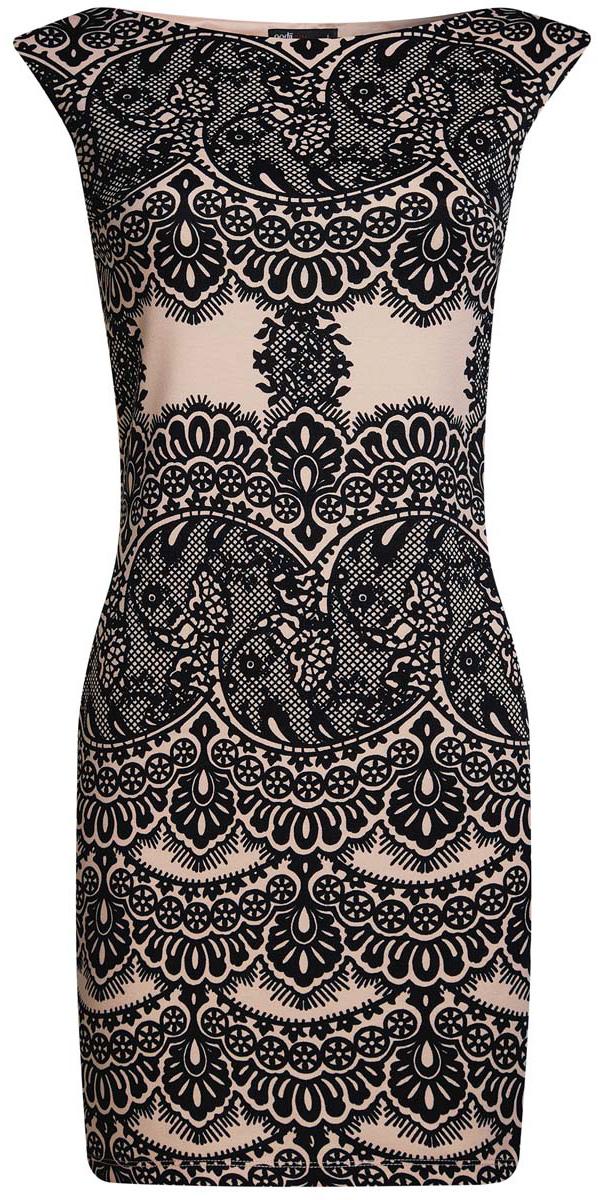 Платье oodji Ultra, цвет: карамель, черный. 14001170/37809/4B29L. Размер S (44)14001170/37809/4B29LПлатье oodji Ultra без рукавов исполнено из мягкой облегающей ткани. Имеет воротник-лодочку и оформлено принтом в кружева.