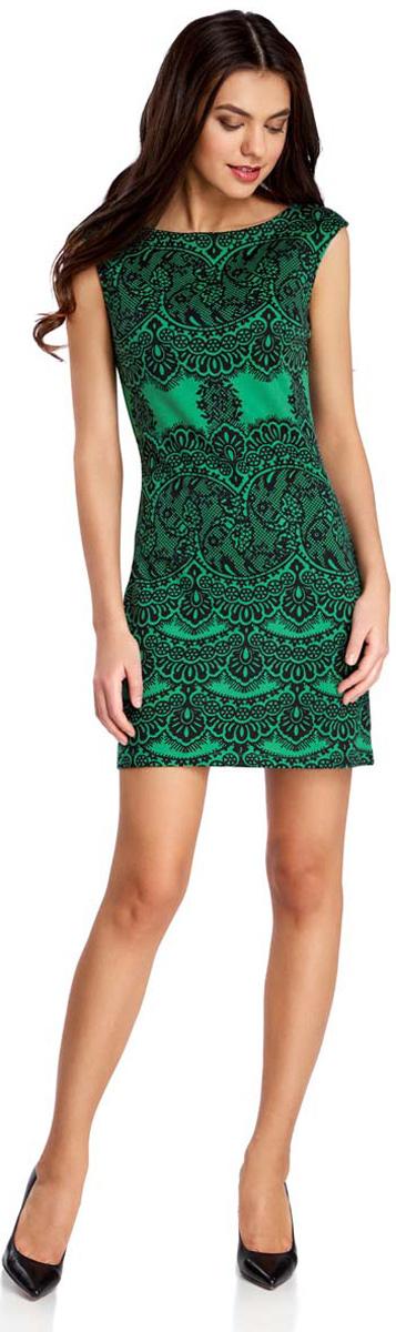 Платье oodji Ultra, цвет: изумрудный, черный. 14001170/37809/6D29L. Размер XL (50)14001170/37809/6D29LПлатье oodji Ultra без рукавов исполнено из мягкой облегающей ткани. Имеет воротник-лодочку и оформлено принтом в кружева.