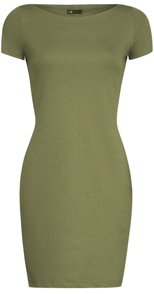 Платье oodji Ultra, цвет: хаки. 14001117-2B/16564/6200N. Размер S (44)14001117-2B/16564/6200NТрикотажное платье oodji Ultra выполнено из качественного комбинированного материала. Модель по фигуре с вырезом-лодочкой и короткими рукавами.