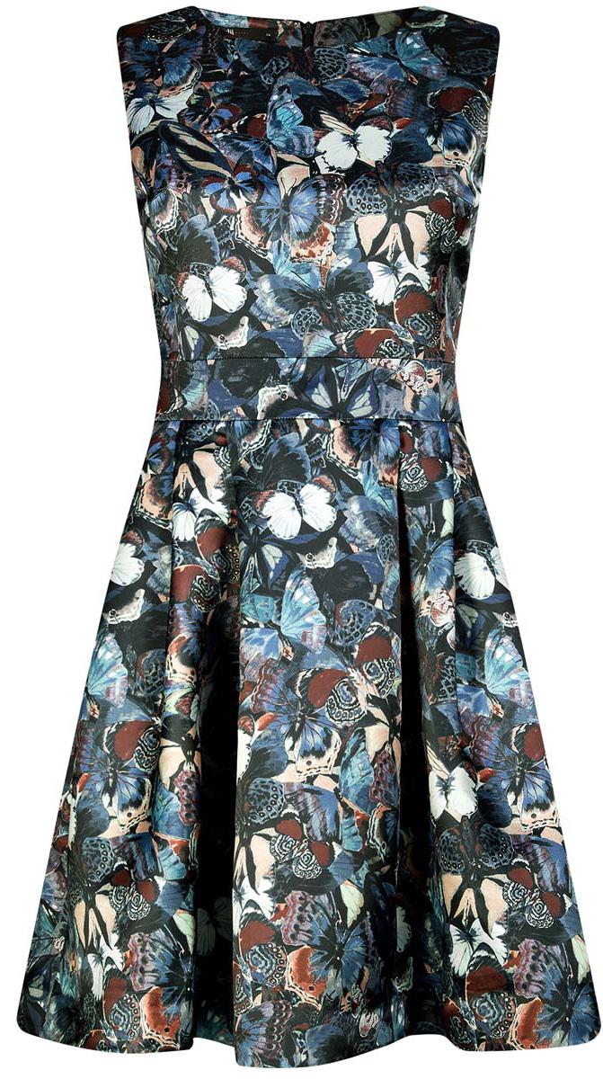 Платье oodji Ultra, цвет: голубой, мультиколор. 11902151/24393/7419U. Размер 38 (44-170)11902151/24393/7419UСтильное платье oodji Ultra полностью выполнено из полиэстера. Модель с расклешенной юбкой, круглым вырезом и без рукавов застегивается на молнию на спине.