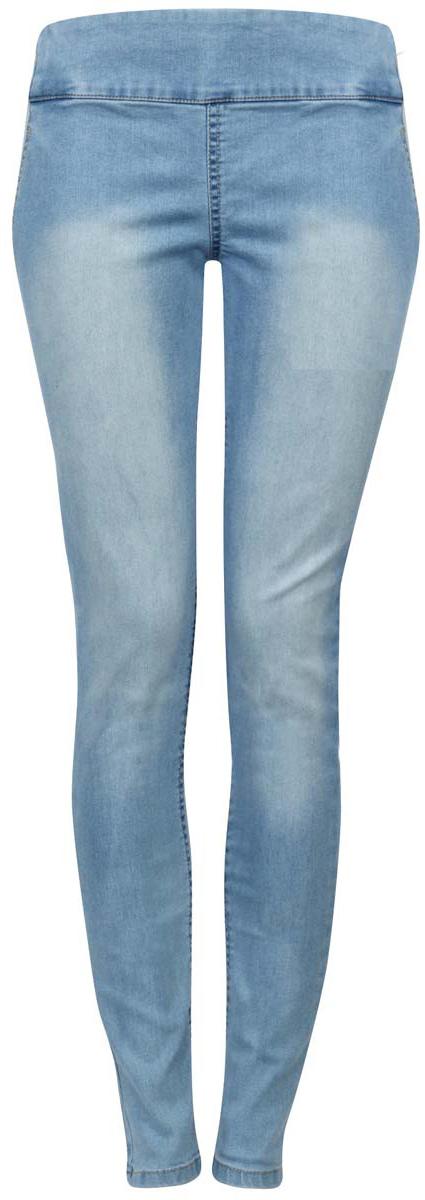 Джинсы женские oodji Collection, цвет: голубой. 22104026-1/37977/7500W. Размер 27-30 (44-30)22104026-1/37977/7500WЖенские джинсы oodji Collection изготовлены из хлопка с добавлением полиуретана, полиэстера и вискозы. Джинсы-слим с высокой посадкой имеют широкую эластичную резинку на поясе. Изделие оформлено имитацией втачных карманов спереди и накладных сзади. Модель оформлена эффектом потертости.