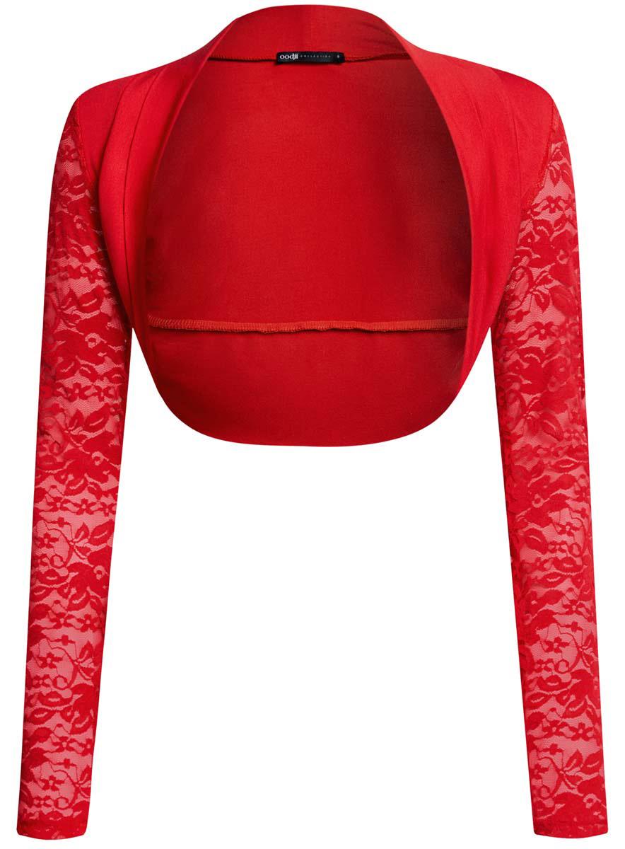 Болеро женское oodji Collection, цвет: красный. 24600001-1/45099/4500N. Размер M (46)24600001-1/45099/4500NОригинальное болеро oodji Collection изготовлено из качественного комбинированного материала.Модель с длинными рукавами, которые изготовлены из элегантного кружева.Болеро - отличное дополнение к кофточке или платью.