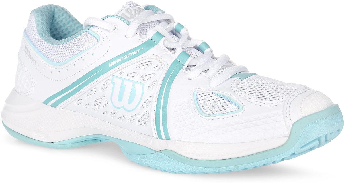 Кроссовки для тенниса женские Wilson Nvision, цвет: белый, бирюзовый. WRS320840. Размер 8 (41)WRS320840Стильные женские кроссовки для тенниса Nvision от Wilson предлагают теннисистам необходимый им комфорт и гибкость. Универсальные кроссовки с высококлассной устойчивостью и комфортом. Верх модели выполнен из искусственной кожи с перфорацией, дополненной вставками из дышащего текстиля, и оформлен фирменными полосками, названием и логотипом бренда. Классическая шнуровка гарантирует удобство и надежно фиксирует модель на ноге. Усиленный мыс для более надежной защиты. Съемная стелька EVA с внешней текстильной поверхностью обеспечивает комфорт и амортизацию. Резиновая рельефная подошва улучшает сцепление с поверхностью и обеспечивает ногам особый комфорт.В таких кроссовках вашим ногам будет комфортно и уютно.