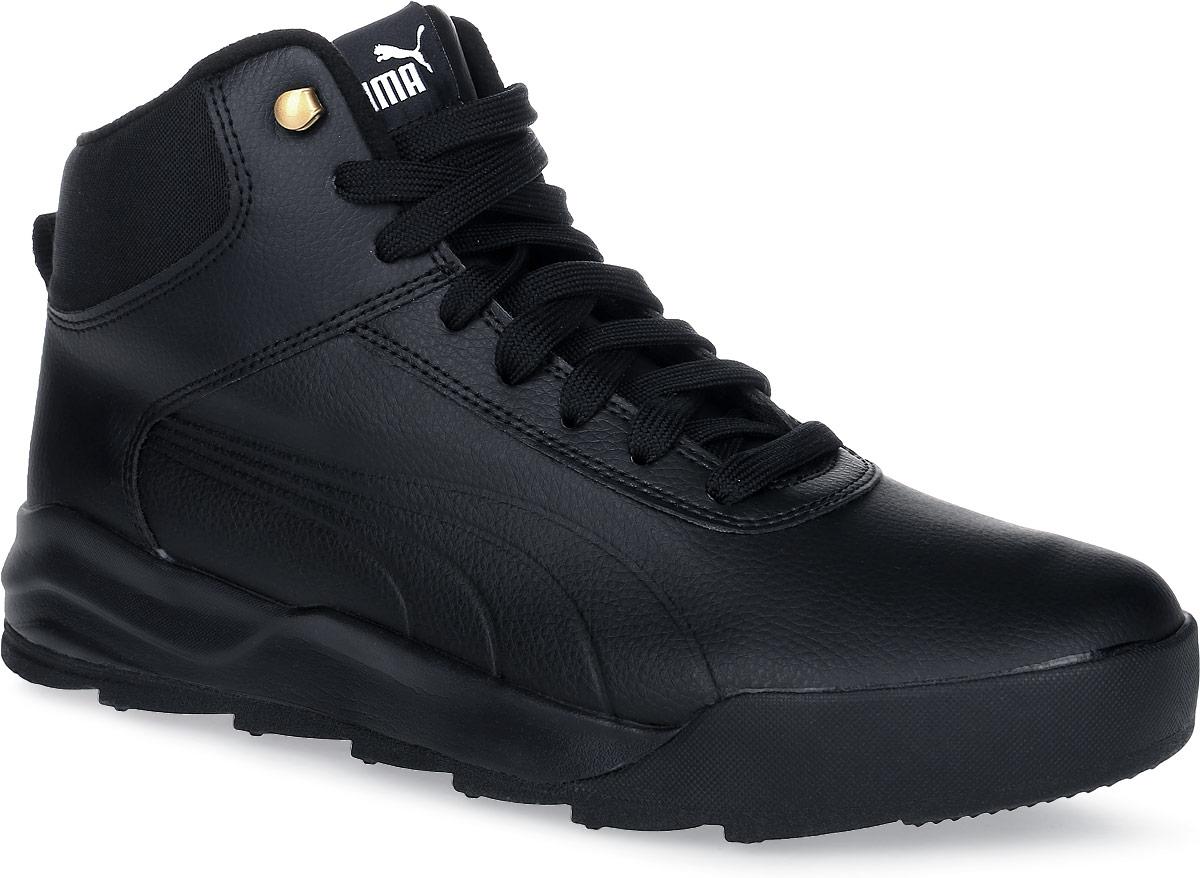 Ботинки мужские Puma Desierto Sneaker L, цвет: черный. 36206502. Размер 6,5 (39)36206502Новая модель Desierto Sneaker - это комфорт мягких кроссовок в сочетании с прочностью и надежностью зимних ботинок. Она выполнена из натуральной кожи и снабжена упругой и эластичной промежуточной подошвой из вспененного этиленвинилацетата. Мощная ребристая внешняя подошва обеспечивает отличное сцепление с поверхностью. Среди других зимних элементов следует отметить обтачку голенища плотной тканью, стильную систему шнуровки, характерную для туристских ботинок, а также мягкую, теплую и уютную подкладку. Ботинки оформлены эмблемой Puma Formstrip с обеих сторон, а также фирменным логотипом Puma - на язычке. Desierto Sneaker - лучший выбор для тех, кому нужна функциональная и долговечная обувь на зимний период, которая выглядела бы стильно и современно!